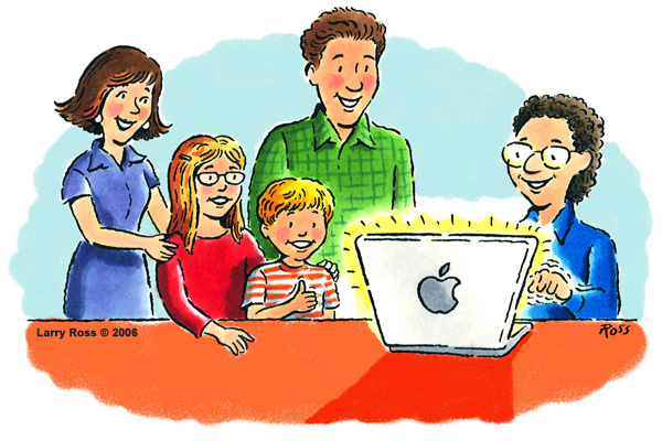 Cartoon, David helping a family with their Macintosh Computer
